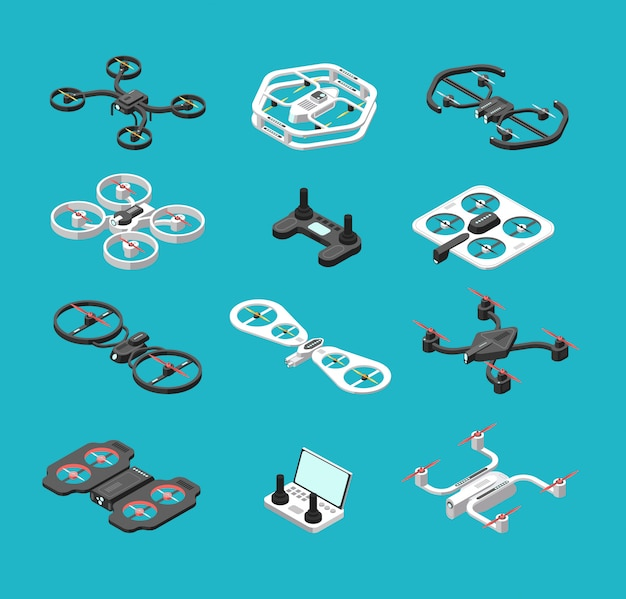 Diferentes drones isométricos 3d.