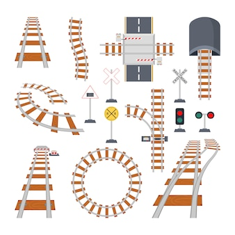 Diferentes elementos estructurales del ferrocarril. colección de vectores en estilo de dibujos animados
