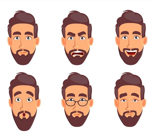 Diferentes emociones masculinas establecidas. personaje de dibujos animados guapo