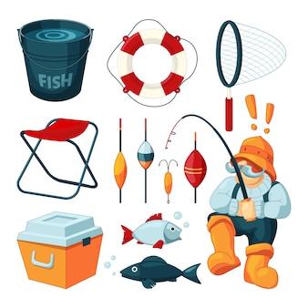 Diferentes equipos para la pesca.