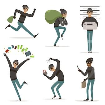 Diferentes escenas de acciones con bandidos de dibujos animados.
