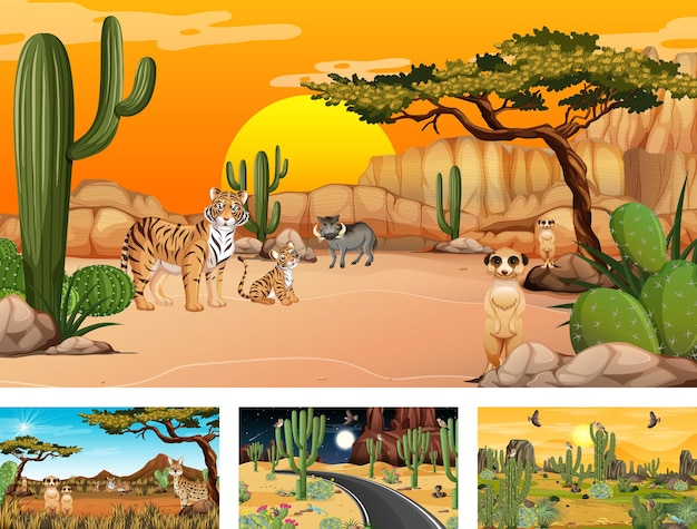 Diferentes escenas de bosque desértico con animales y plantas.
