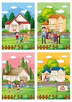 Diferentes escenas de familia de pie frente a una casa en venta.