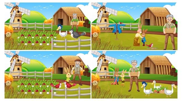 Diferentes escenas de la granja con un anciano granjero y un personaje de dibujos animados de animales.