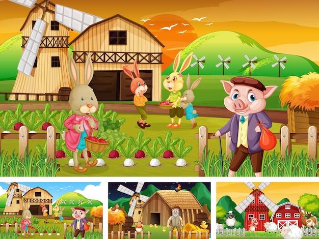 Diferentes escenas de granja con personaje de dibujos animados de animales de granja.