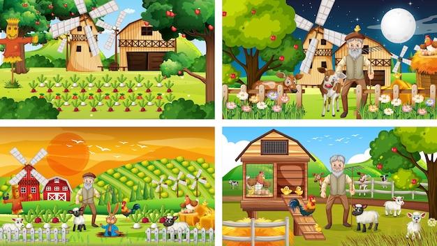 Diferentes escenas de la granja con un viejo granjero y un personaje de dibujos animados de animales