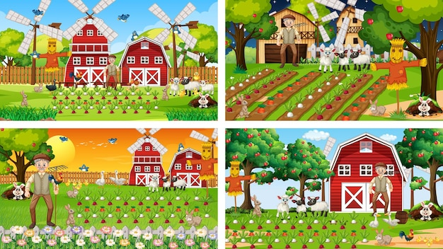 Diferentes escenas de la granja con un viejo granjero y un personaje de dibujos animados de animales.