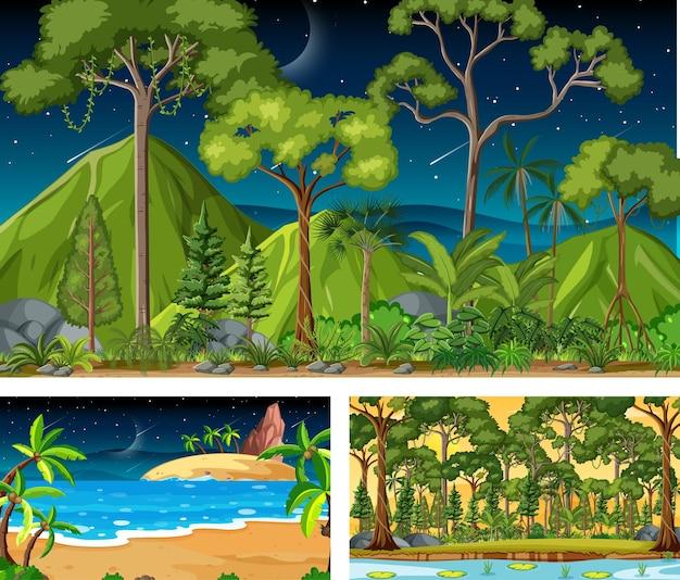 Diferentes escenas horizontales de naturaleza en estilo de dibujos animados.