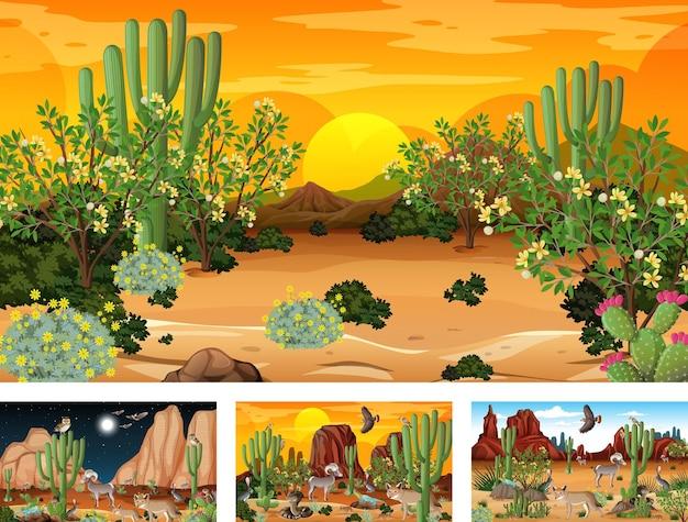Diferentes escenas con paisaje de bosque desértico con animales y plantas.