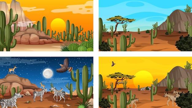 Diferentes escenas de paisaje de bosque desértico con animales y plantas.