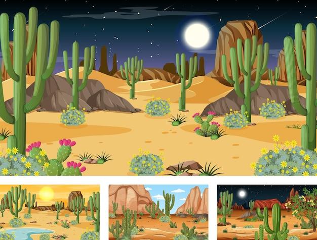 Diferentes escenas con paisaje de bosque desértico con varias plantas del desierto.