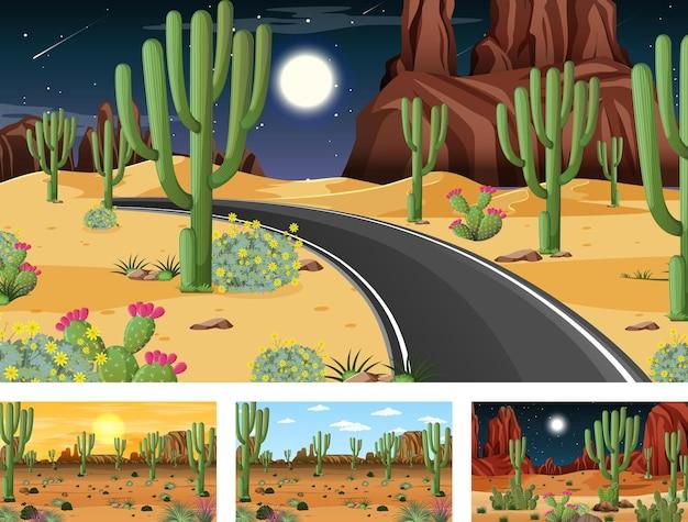 Diferentes escenas con paisaje de bosque desértico.