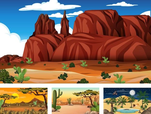 Diferentes escenas de paisajes de bosques desérticos con varias plantas del desierto.