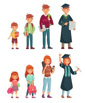 Diferentes estudiantes de edades. alumno de primaria, secundaria y estudiante universitario