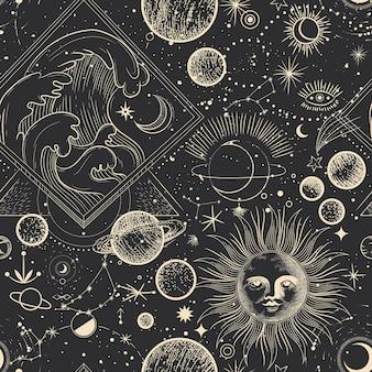 Diferentes etapas de la actividad de la luz de la luna en patrones sin fisuras de estilo de grabado vintage