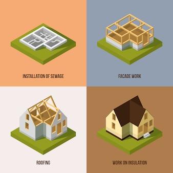 Diferentes etapas de construcción. imágenes vectoriales isométricas