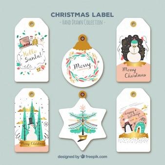Diferentes etiquetas con bonitos dibujos navideños