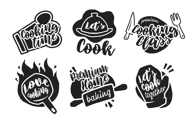 Diferentes etiquetas de caligrafía de cocina.