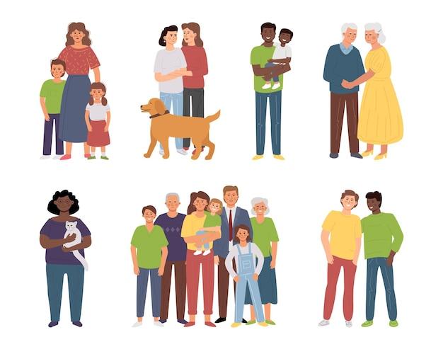 Diferentes familias: padres solteros, familias numerosas, pareja de ancianos, parejas lgbt, mujer solitaria con un pett.