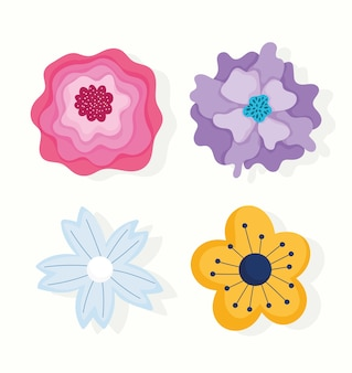 Diferentes flores pétalos naturaleza decoración ornamento iconos diseño e ilustración vectorial