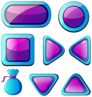 Diferentes formas de botones en púrpura y azul