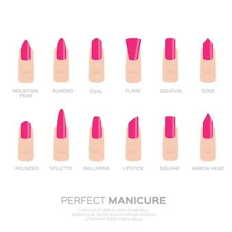 Diferentes formas de uñas. dedos de mujer las uñas de las tendencias de la moda.