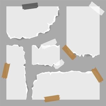Diferentes formas de papeles rasgados con cinta adhesiva.