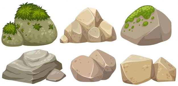 Diferentes formas de piedra con musgo
