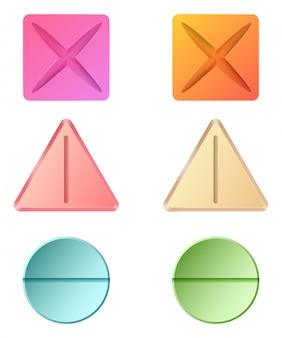 Diferentes formas de píldoras medicinales.