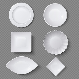 Diferentes formas de platos de comida realistas, platos y cuencos conjunto de vectores. plato plato para restaurante, utensilio vacío y vajilla.