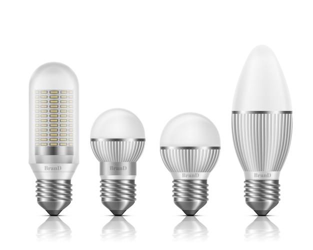 Diferentes formas y tamaños de bombillas led con disipadores de calor o aletas, base e27, conjunto de vector realista 3d de tipo tornillo de tornillo aislado