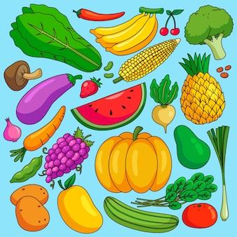 Diferentes frutas y verduras