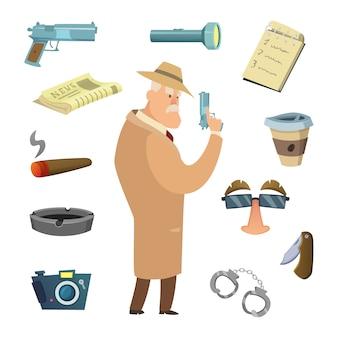 Diferentes herramientas para detective.