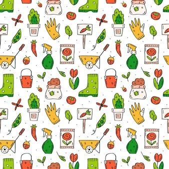 Diferentes herramientas de jardinería y plantas doodle dibujado a mano de patrones sin fisuras