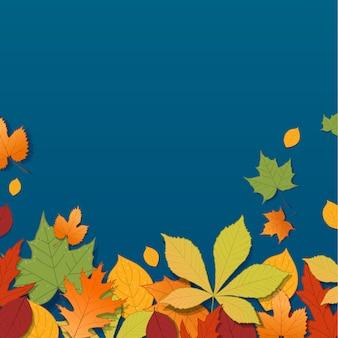 Diferentes hojas de otoño sobre fondo azul.