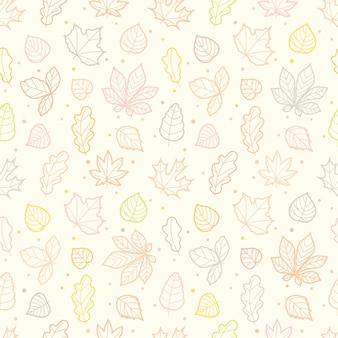 Diferentes hojas siluetas otoño de patrones sin fisuras