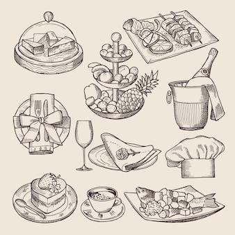 Diferentes imágenes para el menú del restaurante en estilo retro.