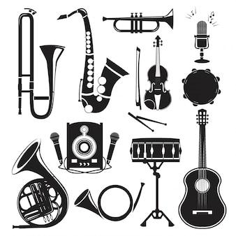 Diferentes imágenes monocromas de instrumentos musicales aislados en blanco