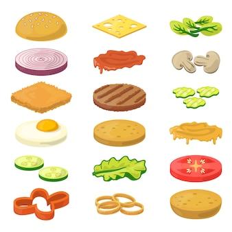 Diferentes ingredientes de hamburguesas en estilo de dibujos animados