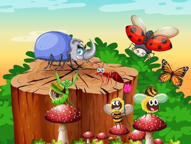 Diferentes insectos y escarabajos que viven en la escena del jardín durante el día.
