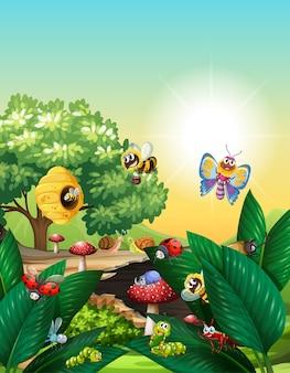 Diferentes insectos que viven en la escena del jardín durante el día.