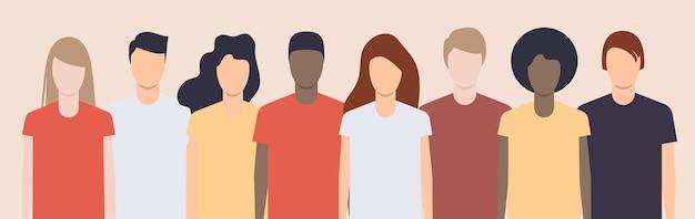 Diferentes jóvenes juntos. diversificación racial y amistad. ilustración vectorial