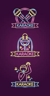 Diferentes karaokes en estilo neón con cantante y micrófono sobre púrpura