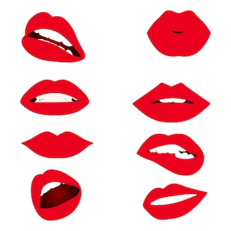 Diferentes labios de mujer.
