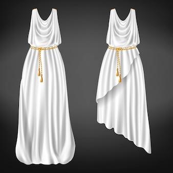 Diferentes longitudes, chitones griegos de lana blanca, lino o tela de seda atados con un cinturón de cuerda dorada