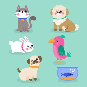 Diferentes mascotas lindas aisladas sobre fondo azul