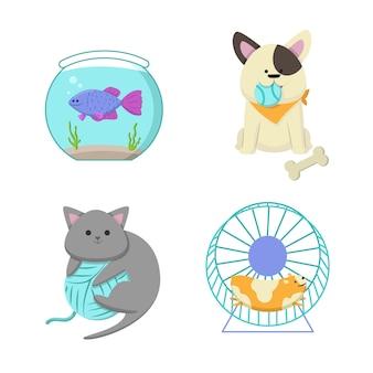 Diferentes mascotas lindas juguetonas
