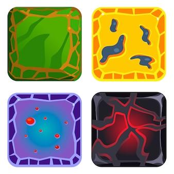 Diferentes materiales y texturas. conjunto de gemas verdes, amarillas, azules y negras