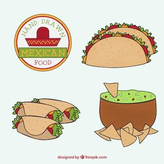 Diferentes menús mexicanos dibujados a mano
