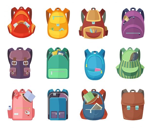 Diferentes mochilas en estilo de dibujos animados aislar sobre fondo blanco. ilustraciones de vectores de educación